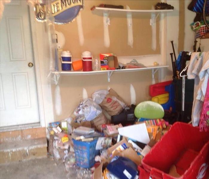 Before Photo of Garage with all the items that were affected by the water loss